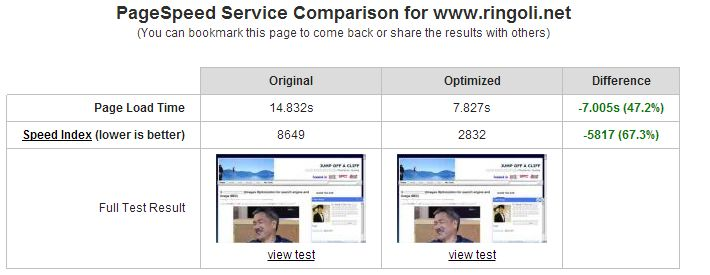 page speed service on Ringo Li Net