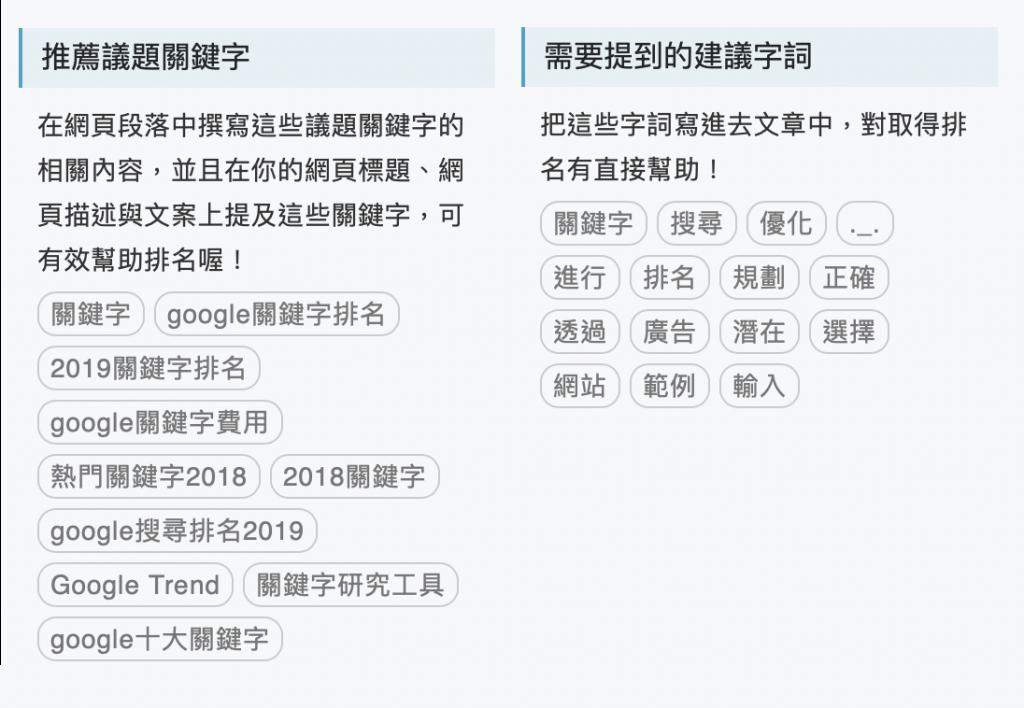 SEO文案規劃工具操作面板